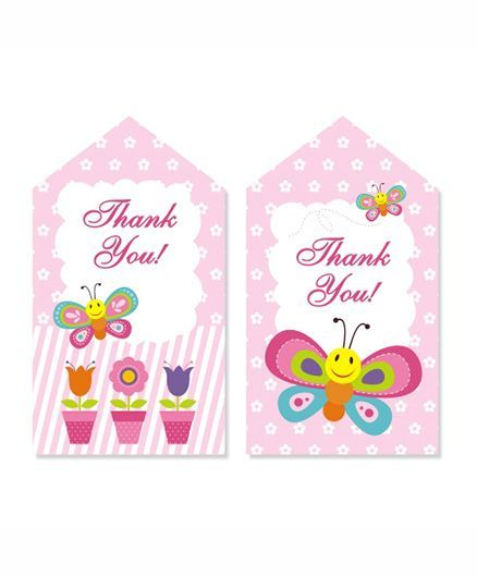 Prettyurparty Butterfly Thankyou Cards- Pink