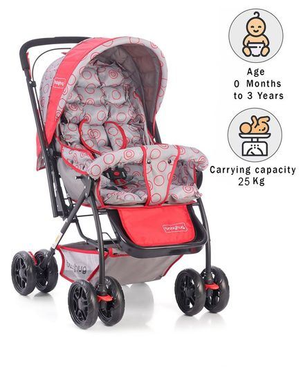 Babyhug Cosy Cosmo Stroller With Reversible Handle & Back Pocket - Bright Red