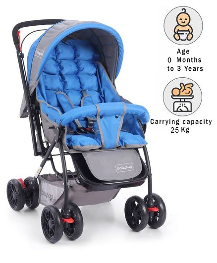 Babyhug Cosy Cosmo Stroller With Reversible Handle & Back Pocket - Royal Blue