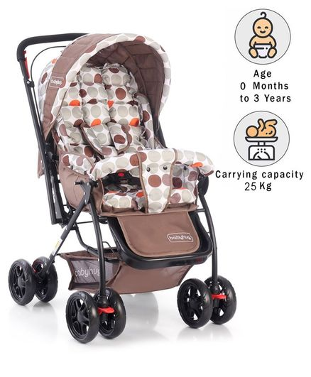 Babyhug Cosy Cosmo Stroller With Reversible Handle & Back Pocket - Coffee Brown