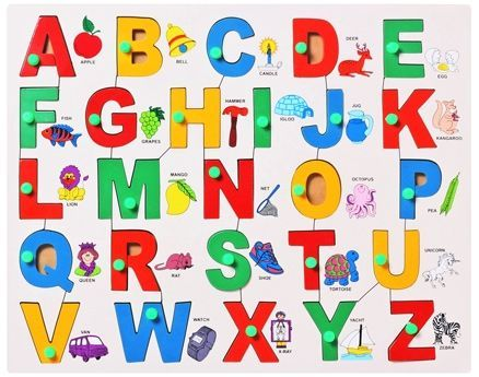 Little Genius - English Wooden  Alphabet Picture Match With Knob