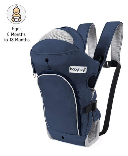 Babyhug Comfort Nest 3 Way Baby Carrier With Adjustable Infant Head Support - Navy