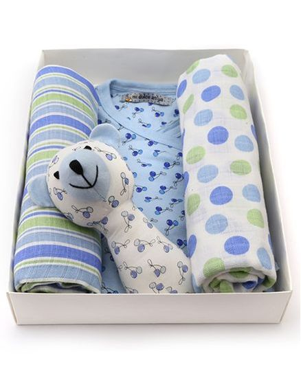 Mi Dulce Anya Organic Cotton Gift Set Pack of 4 Blue for Both (0-6 ... 76ed7d3054f85