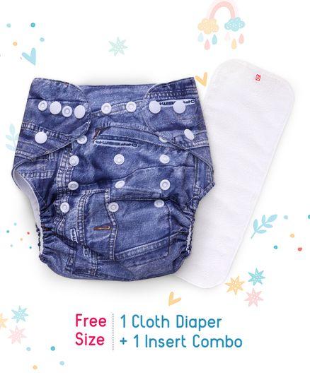 07233c8642 Babyhug Free Size Reusable Cloth Diaper With Insert Denim Pattern - Blue