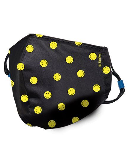 Quick Dry Anti Pollution Face Mask Smiley Print - Black