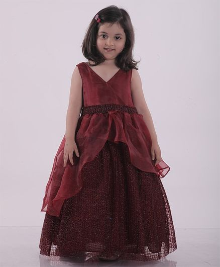 Jelly Jones Sleeveless Solid Fit & Flared Netted Gown  - Maroon