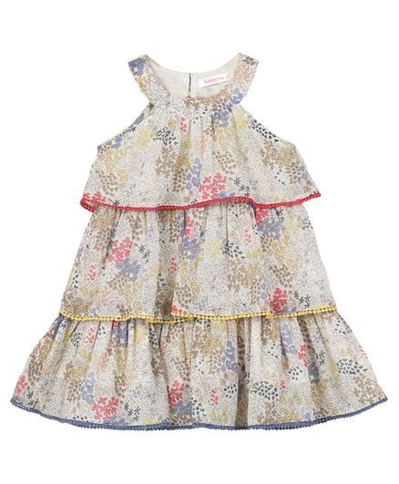 Budding Bees Sleeveless Floral Printed Pom Pom Detailed Layered Dress - Multicolor