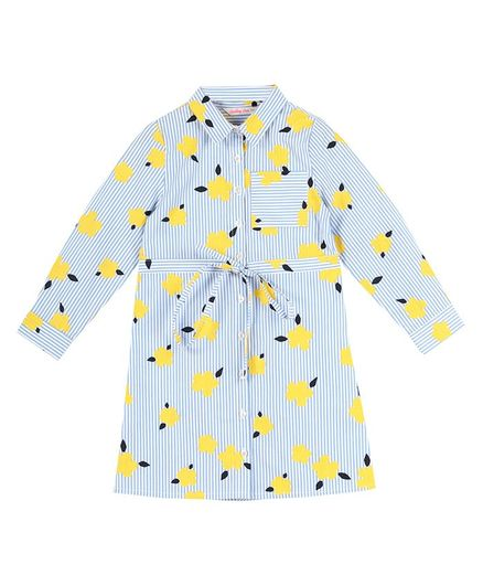Budding Bees Full Sleeves Floral Maxi Shirt Dress - Blue
