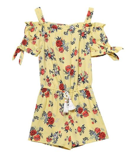 Budding Bees Sleeveless All Over Floral Printed Jumpsuit - Yellow