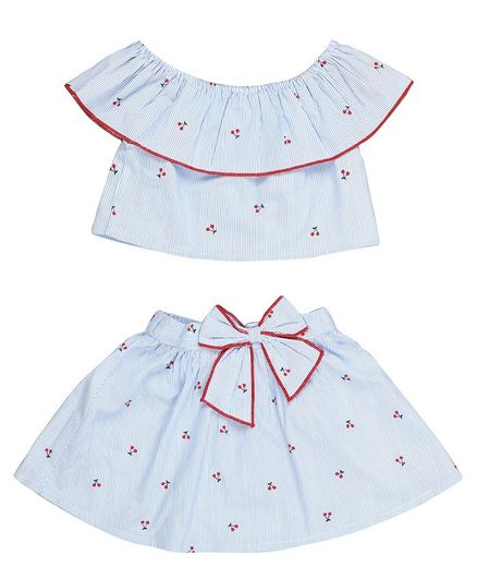 Budding Bees Sleeveless Cherry Printed Printed & Striped Top With Skirt Set  - Skirt Set - Blue