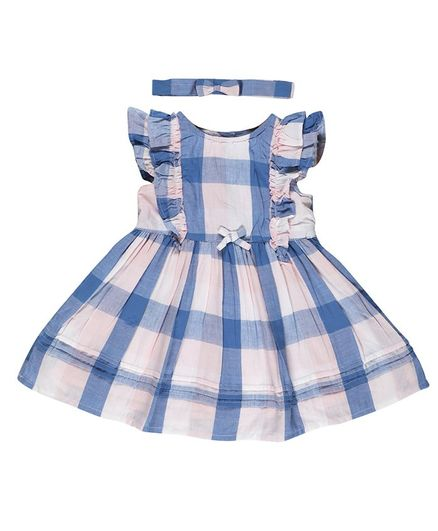 Budding Bees Cap Sleeveless Checkered Dress With Headband - Blue