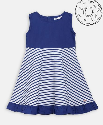 Elle Kids Sleeveless Striped Flared Dress - Blue
