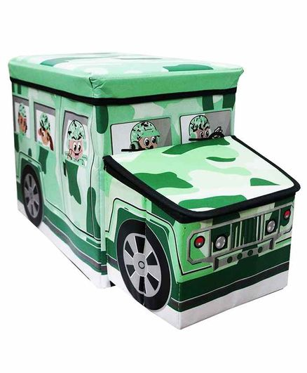 Muren Foldable Storage Box cum Stool Army Bus Design - Green
