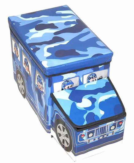 Muren Foldable Storage Box cum Stool  Army Bus Design - Blue