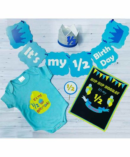 Untumble Half Birthday Decoration Kit with Onesie Blue - Pack of 25