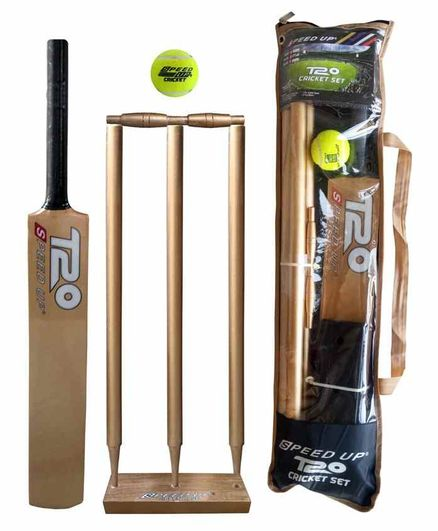 Speed Up T20 Wooden Cricket Combo Set Size 6 - Golden