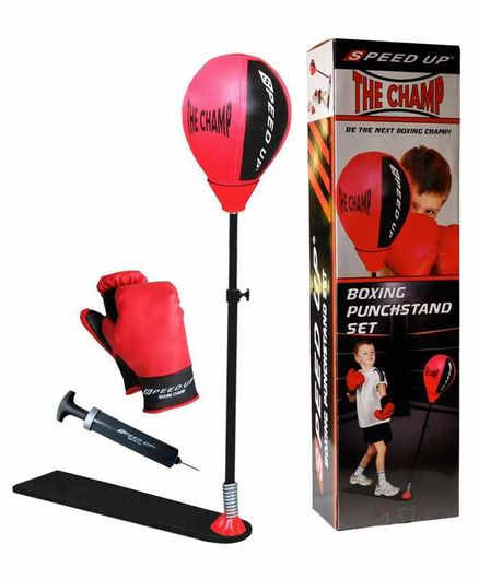 Speed Up Boxing Punch Stand with Gloves - Red