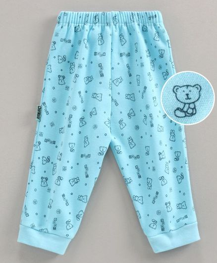 Child World Full Length Lounge Pant Teddy Print - Turquoise Blue
