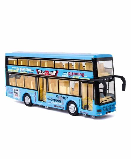 RLS Solutions Die Cast Double Decker Bus with LED Light and Sound - Blue