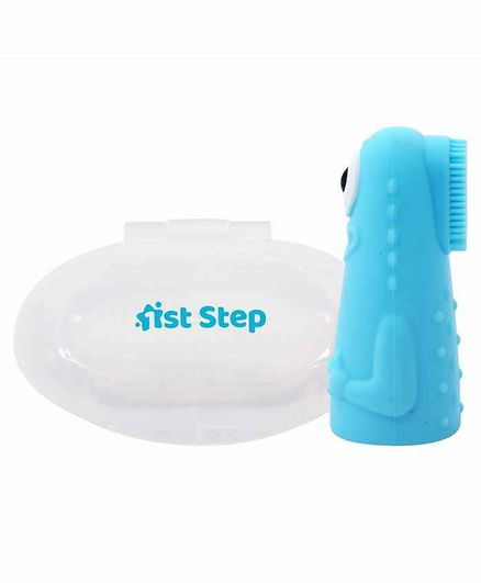 1st Step Silicone Finger Brush With Case - Blue