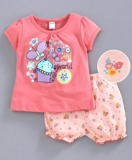 Tango Short Sleeves Tee & Bloomer Butterfly Print - Peach