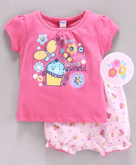 Tango Short Sleeves Tee & Bloomer Butterfly Print - Pink