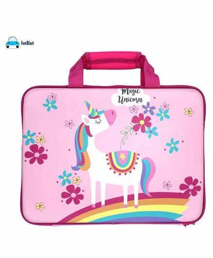FunBlast Rectangular Pencil Pouch Unicorn Print - Pink