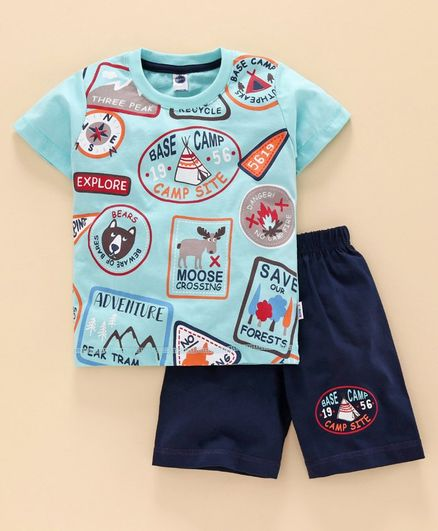 Teddy Half Sleeves T-Shirt and Shorts Set Text Print - Blue