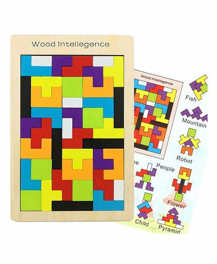 Yamama Tetris Russian Blocks Board Puzzle Multicolour - 40 Pieces