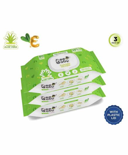 Beebaby Fresh Baby Wet Wipes  with Lid Pack of 3 - 80 Pieces Each
