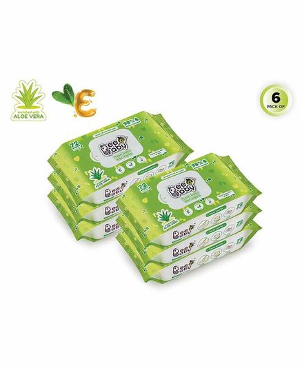 Beebaby Fresh Baby Wet Wipes Pack of 6 - 72 Pieces Each