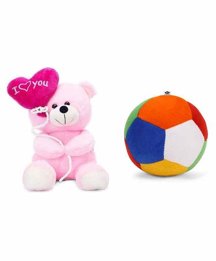 Deals India Teddy Soft Toy and Ball Combo Pink - Height 26 cm