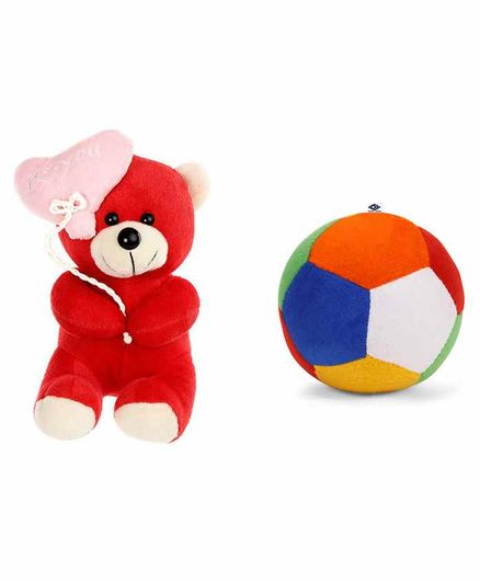 Deals India Teddy Soft Toy and Ball Combo Red - Height 26 cm