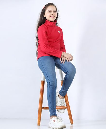 Pine Kids Full Sleeves Biowashed Tee Star Sequin Embellishment - Maroon