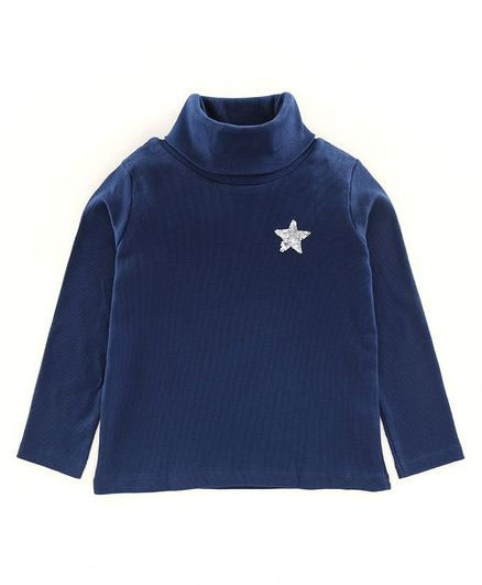 Pine Kids Winter Wear Full Sleeves Skivi Tee Sequinned Star Detailing - Navy Blue