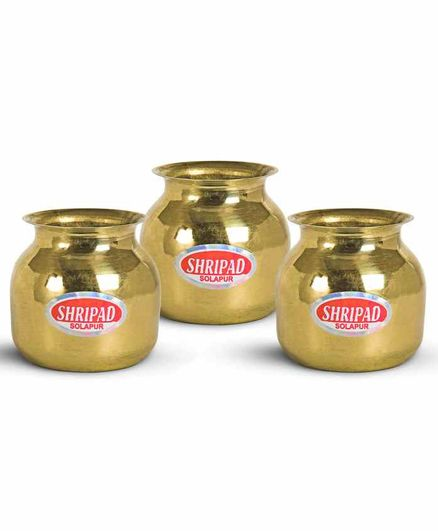 Shripad Steel Home Miniature Brass Plain Loti Set of 3 - Golden