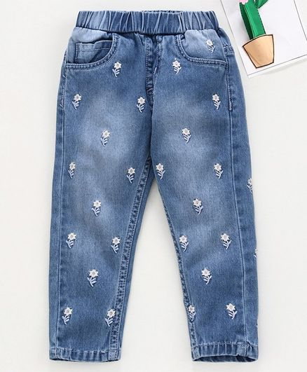 Babyhug Full Length Jeans Floral Embroidery - Light Blue