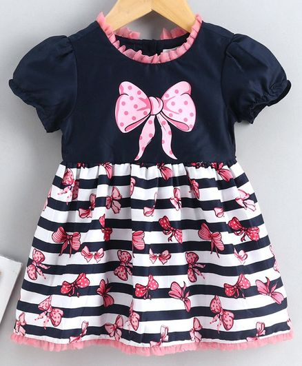 Babyoye Cap Sleeves Cotton Frock Bow Print - Navy  Pink