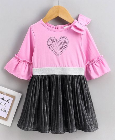 Babyoye Full Sleeves Cotton Frock Heart Design  - Pink