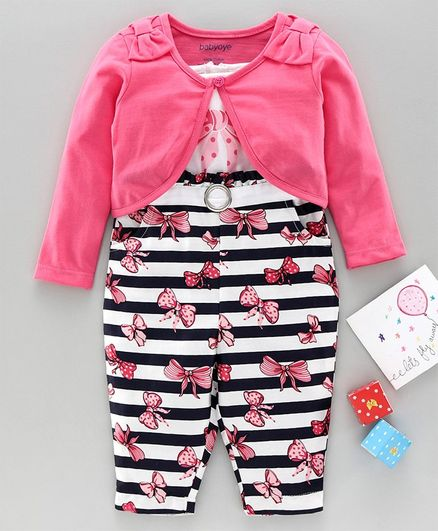 Babyoye Stripe Jumpsuit With Full Sleeves Shrug Bow Print & Applique - Pink White