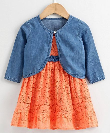 Babyoye Cotton Lace Frock With Full Sleeves Shrug - Coral Blue