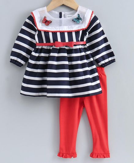 Babyoye Full Sleeves Striped Frock with Legging  - Red Black