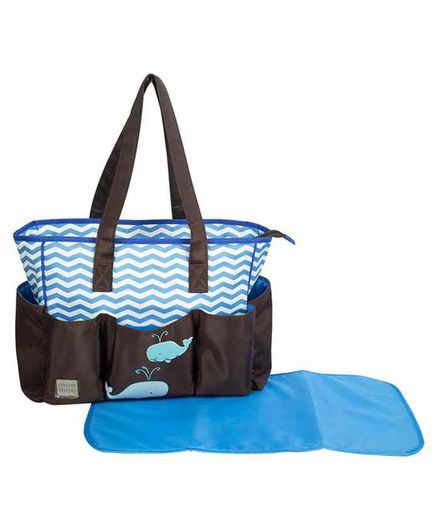Mee Mee Diaper Bag with Changing Mat - Brown Blue