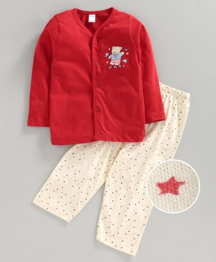 Tango Full Sleeves Night Suit Teddy Print - Red White