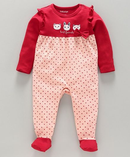 Babyoye Full Sleeves Footed Sleepsuit Polka Dot - Red Pink