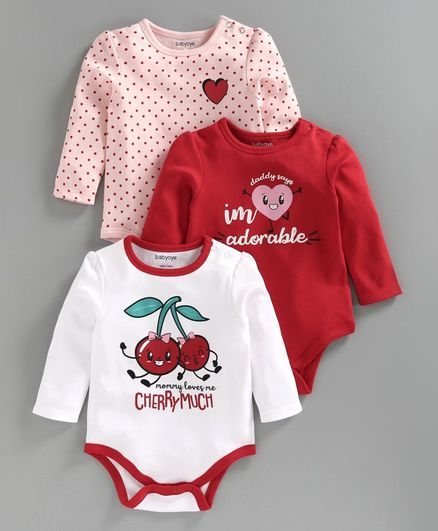 Babyoye Full Sleeves Onesie Cherry Print Pack of 3 - Red Pink White