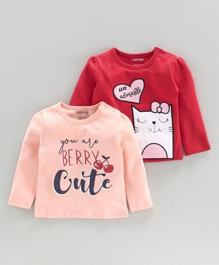 Babyoye Full Sleeves Tee Text & Kitty Print - Red Pink