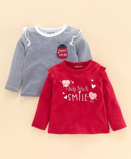 Babyoye Full Sleeves T Shirt Pack of 2 - Red, Black & White