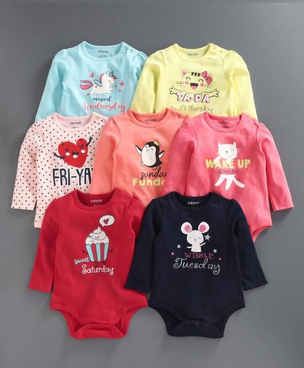 Babyoye Full Sleeves Onesie Pack of 7 - Multicolor