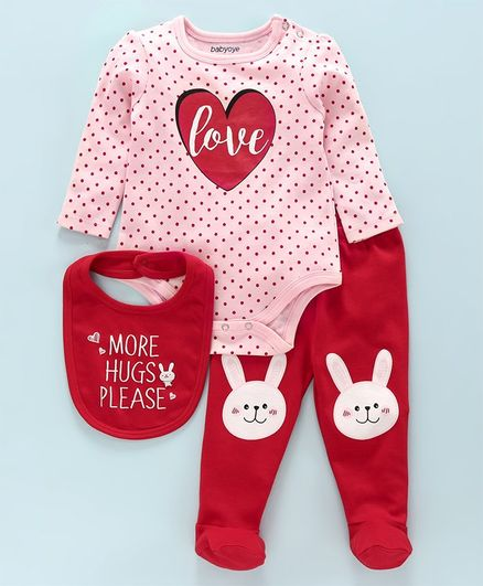 Babyoye Full Sleeves Onesie with Bootie Legging and Bib - Pink